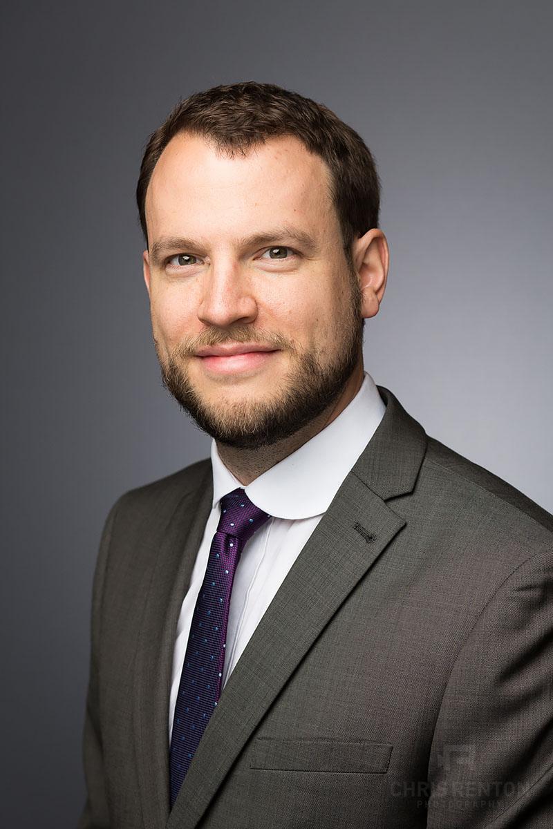 corporate headshots london male grey backdrop