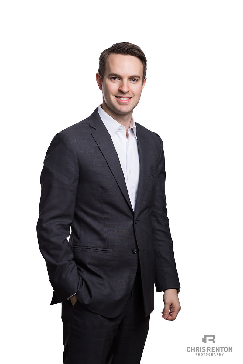 business portrait male white backdrop