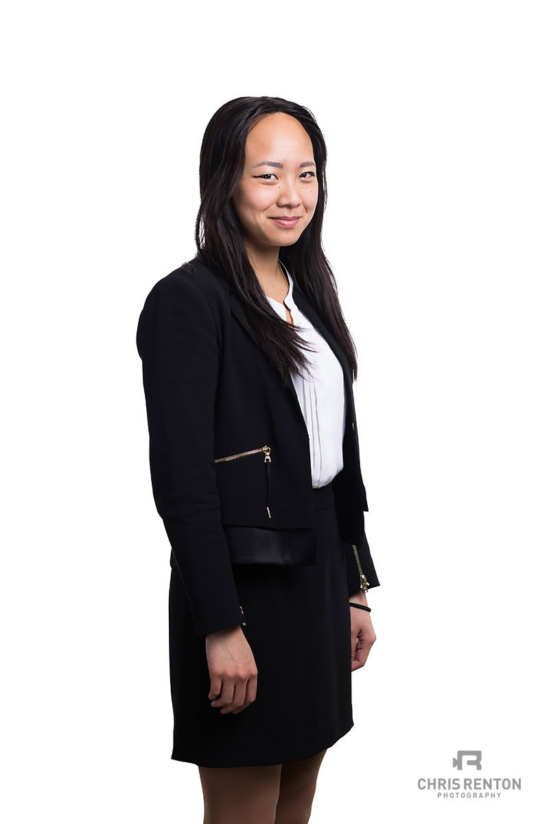 corporate portrait female white backdrop