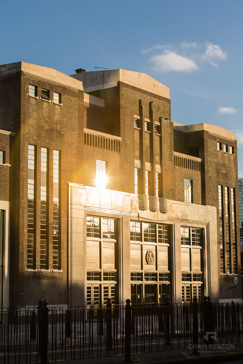 Poplar Baths London front sunset